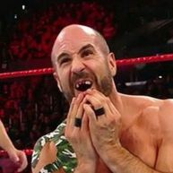 Image result for cesaro loses his teeth at no mercy